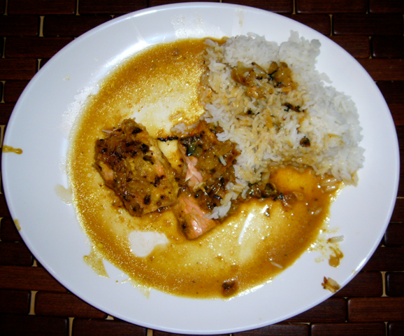 Saumon au miel, au curry et au gingembre