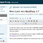 Aperçu de l'interface d'administration de WordPress 2.7