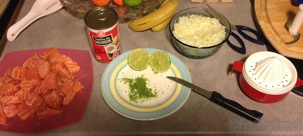 Préparation du saumon coco-curry